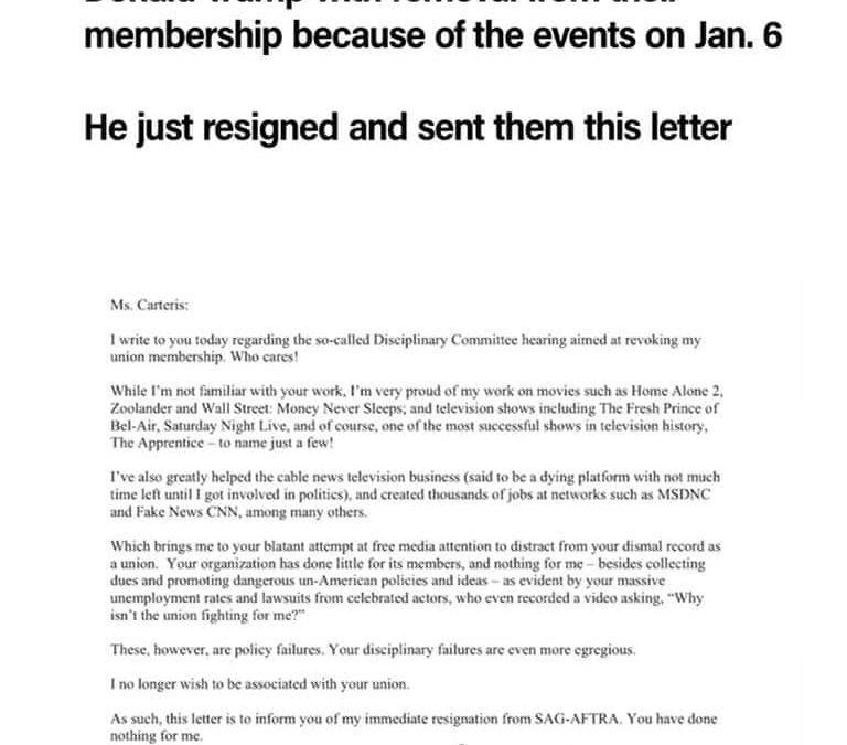 SAG e' l'unione degli attori che ha minacciato di espellere DJT. Questa e' la lettera di dimissioni che gli ha appena mandato.